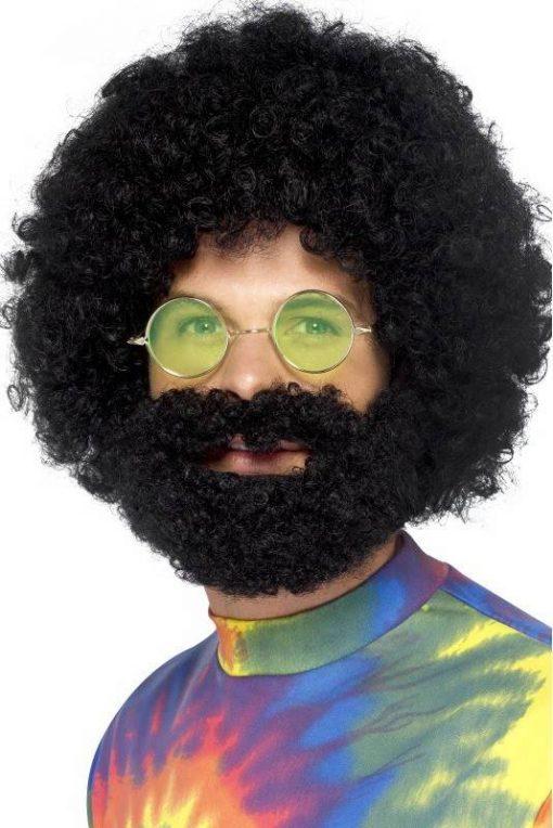 afro pruik met baard