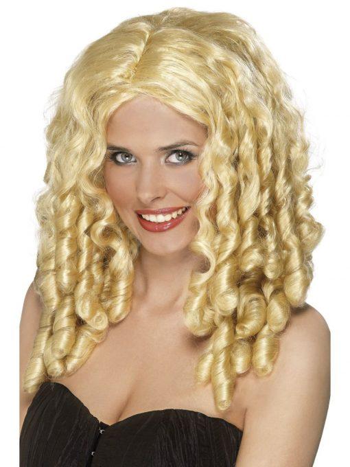 Blonde pruik met pijpenkrullen